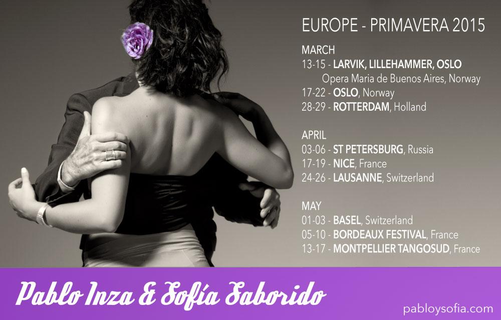 Pablo Inza & Sofia Saborido - Schedule Europe Spring 2015