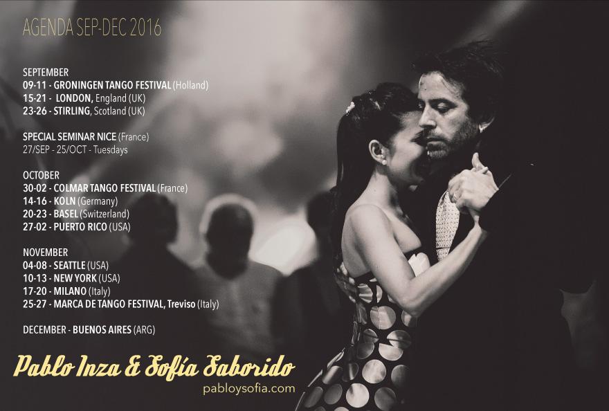 Pablo Inza & Sofia Saborido - Agenda Sep Dec 2016