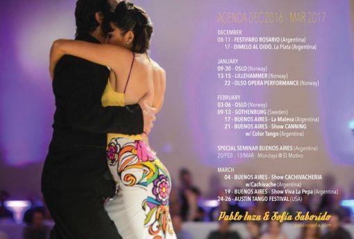 Pablo Inza & Sofia Saborido - Agenda Dec 2016 March 2017